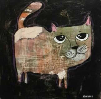 Ja - Brown Fatty Cat with Sweet Eyes - 20 x 20 - 3-9