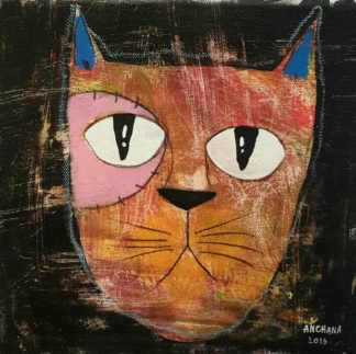 Ja - Brown Happy Cat- 20 x 20 - 3-9