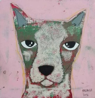 Ja - Gray Dog in pink background - 20 x 20 - 3-9