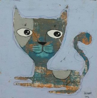 Ja - Gray big head cat - 20 x 20 - 3-9