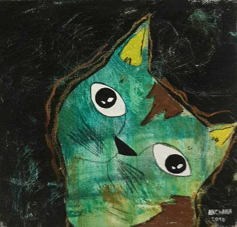 Ja - Green Cat - 20 x 20 - 3-9