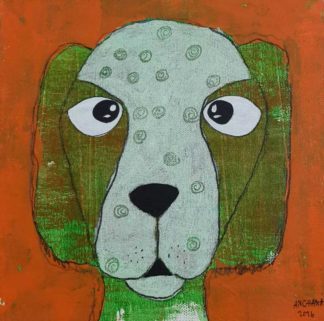Ja - Green Confuse Dog - 20 x 20 - 3-9