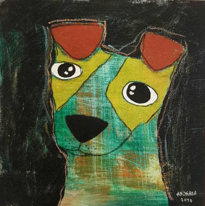 Ja - Green sad eyes dog - 20 x 20 - 3-9