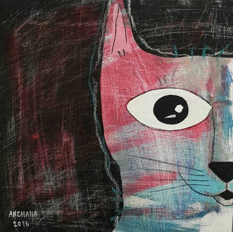 Ja - Half face pink cat - 20 x 20 - 3-9