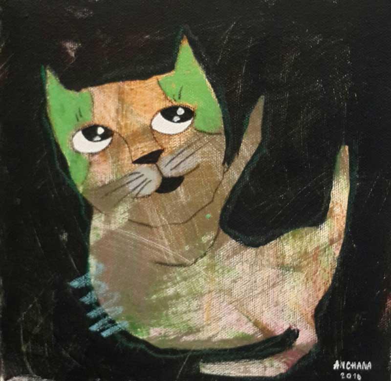 Ja - Hi five kitty - 20 x 20 - 3-9