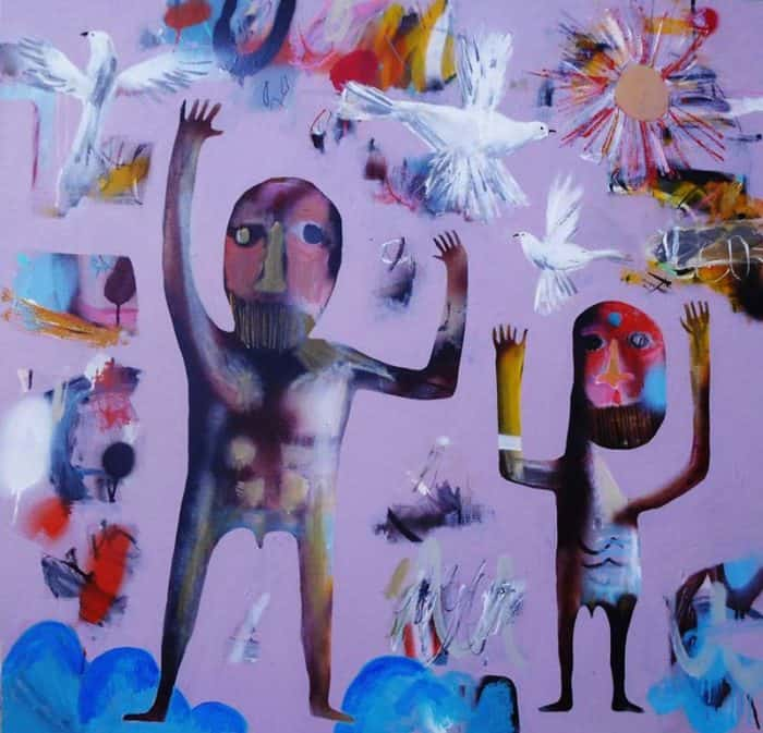 Kitti - 2 men & birds - 100 x 100 - 9