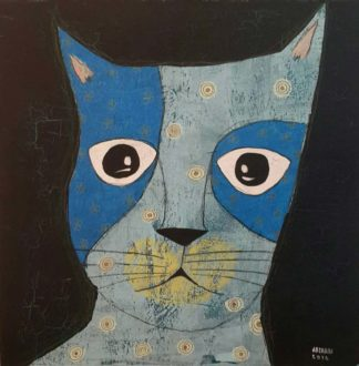 Ja - Blue big eyes cat - 40 x 40 - 8
