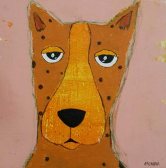 Ja - Orange brown polka dots dog - 20 x 20 - 3-9