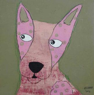 Ja - Pink Look Away Dog - 20 x 20 - 3-9