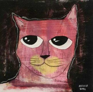 Ja - Pink cat - 20 x 20 - 3-9