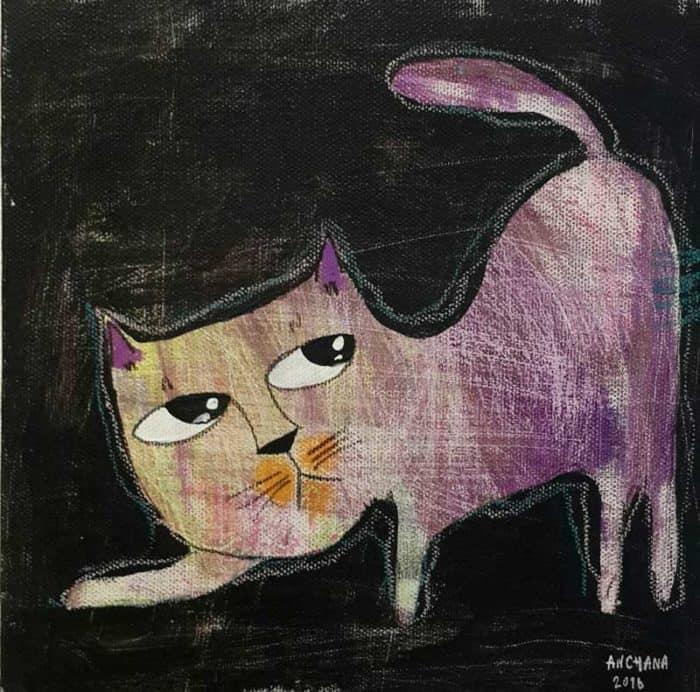 Ja - Purple Pleasing Cat - 20 x 20 - 3-9