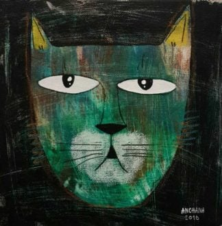 Ja - Serious Green Cat - 20 x 20 - 3-9