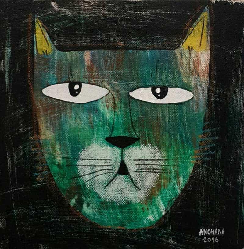 Ja - Serious Green Cat - 20 x 20 - 3-9