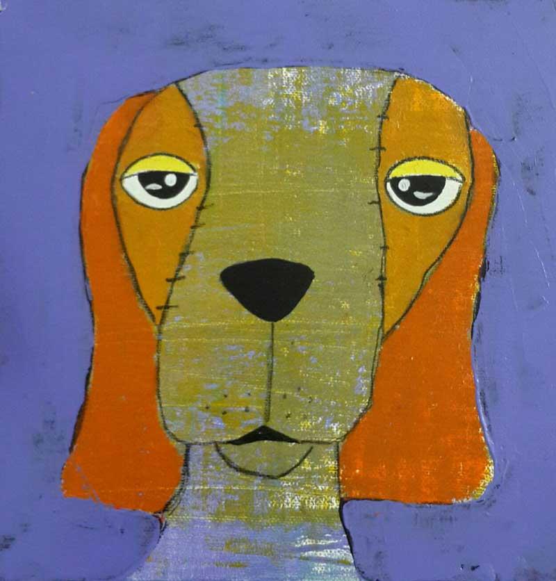 Ja - Sleepy dog purple - 20 x 20 - 3-9