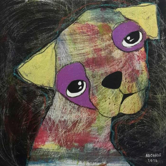 Ja - Yellow and purple bored dog - 20 x 20 - 3-9