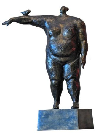 Sculptures for sale - Ath - Big lady and a small bird - Lady 02 - 13.5 x 27 x 39 - 3-5