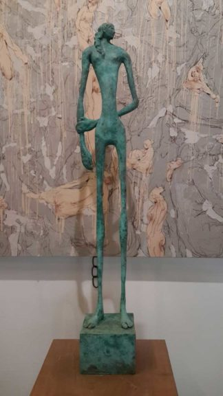 Sculptures for sale - Yao - Green Slim man - Y 007 - 15 x 12 x 79 - 15