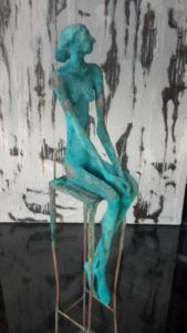 Sculptures for sale - Yao - Sitting Woman - Y 011 - 12 x 12 x 68 - 15