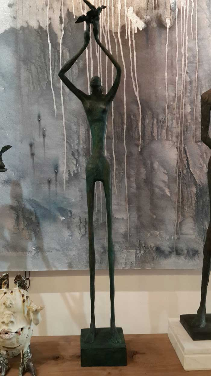 Sculptures for sale - Yao - Slim man Lifting - Y 005 - 15 x 12 x 89