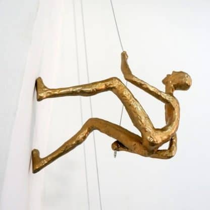 Climbing Man Wall Sculpture - Gold color