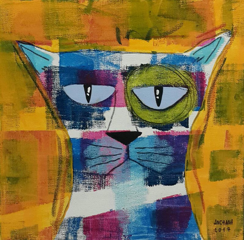 Ja - Blue and white cat - 25 x 25 - 09