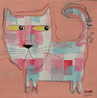 Ja - Candy color cat on orange pink - 20 x 20 - 07