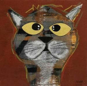 Ja - Gray cat On brown - 25 x 25 - 09