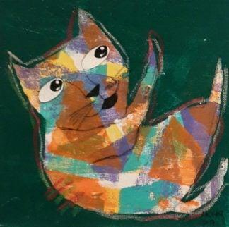 Ja - Mix colors cat on Dark green - 20 x 20 - 07