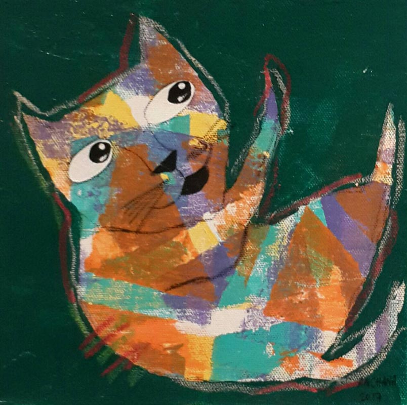 Ja - Mix colors cat on Dark green - 20 x 20 - 07