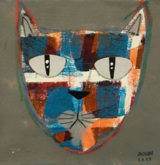 Ja - Mix colors cat on greenish gray - 20 x 20 - 07