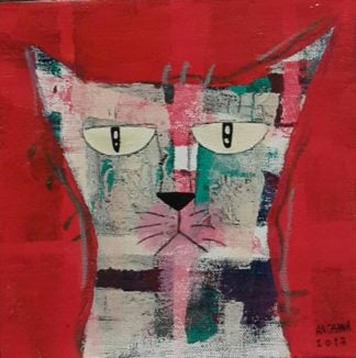 Ja - Mix gray cat on velvet - 20 x 20 - 07