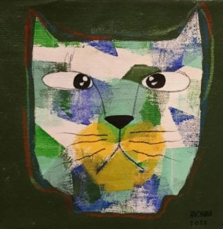 Ja - Mix green and white cat on dark green - 20 x 20 - 07