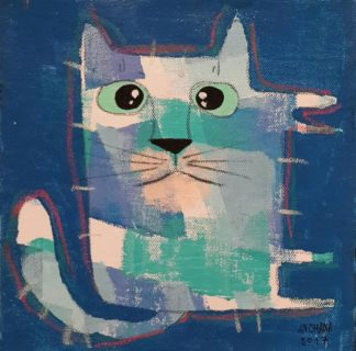 Ja - Mix green blue cat on navy blue - 20 x 20 - 07