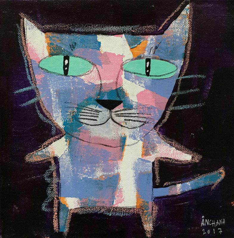 Ja - Mix purple and blue cat on black - 20 x 20 - 07