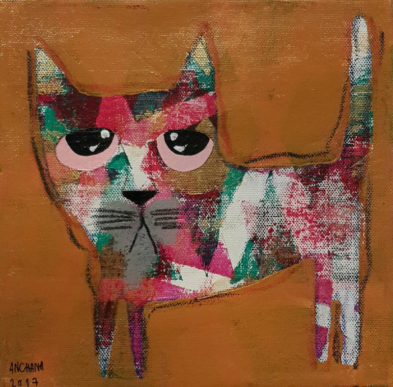 Ja - Mix red cat on honey brown - 20 x 20 - 07