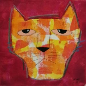 Ja - Orang cat On Velvet - 25 x 25 - 09