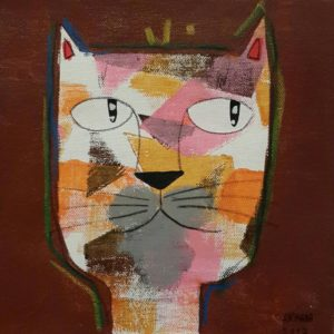 Ja - White yellow orange cat on brown - 20 x 20 - 07