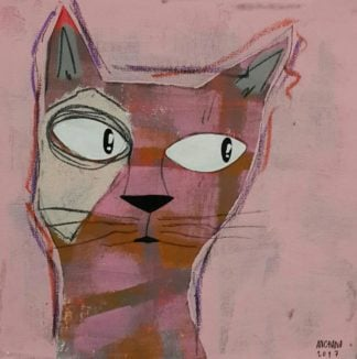 Ja - brown and white cat on Pink - 25 x 25 - 09