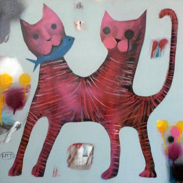 Kitti - 2 head cat - 50 x 50 - 2-5