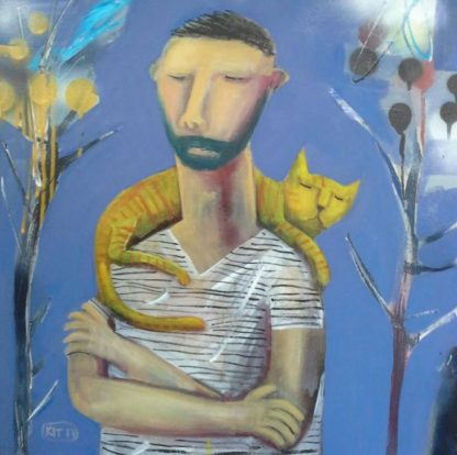 Kitti - A Man And A Yellow Cat - 50 x 50 - 2-5