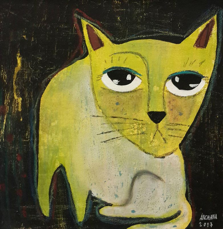 Ja - Color Cat On Black 07 - 25 x 25 - 09