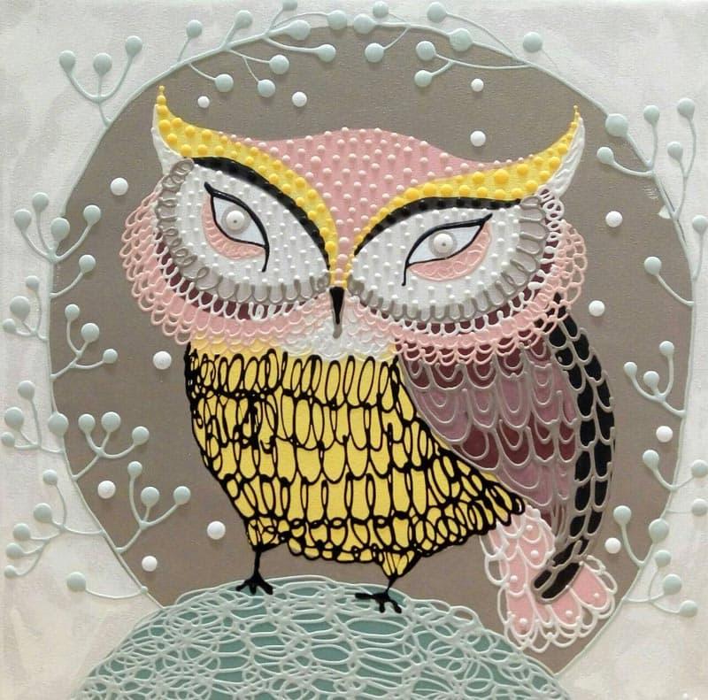 Kamontip - Owl 14 - 50 x 50 - 3-5