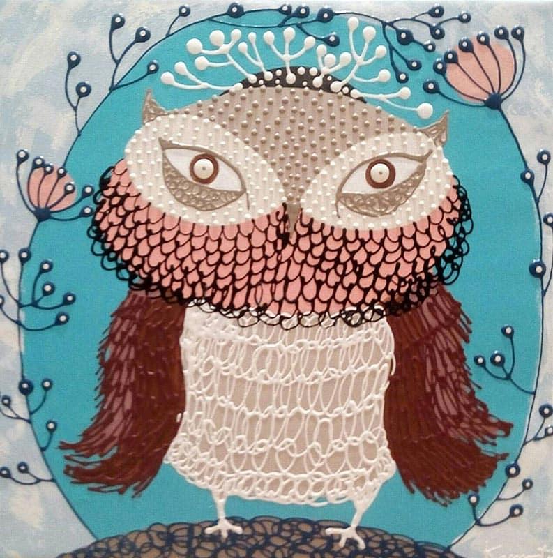Kamontip - Owl 15 - 50 x 50 - 3-5