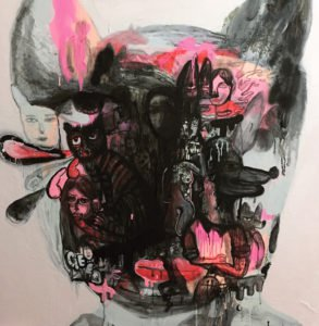 Gee – The face pink and black 02 – 120 x 120 – 25