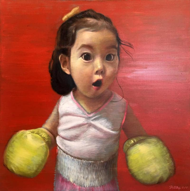 Thitithep - Boxing Girl Red - 130 x 130 - 38