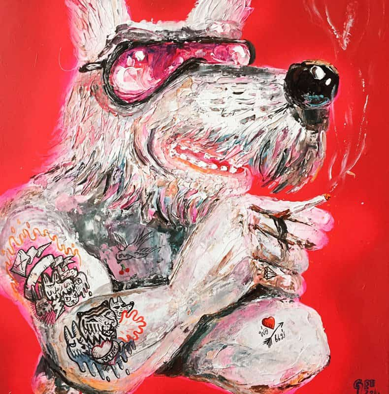 Gee - Red Smoke - 70 x 70 - 12