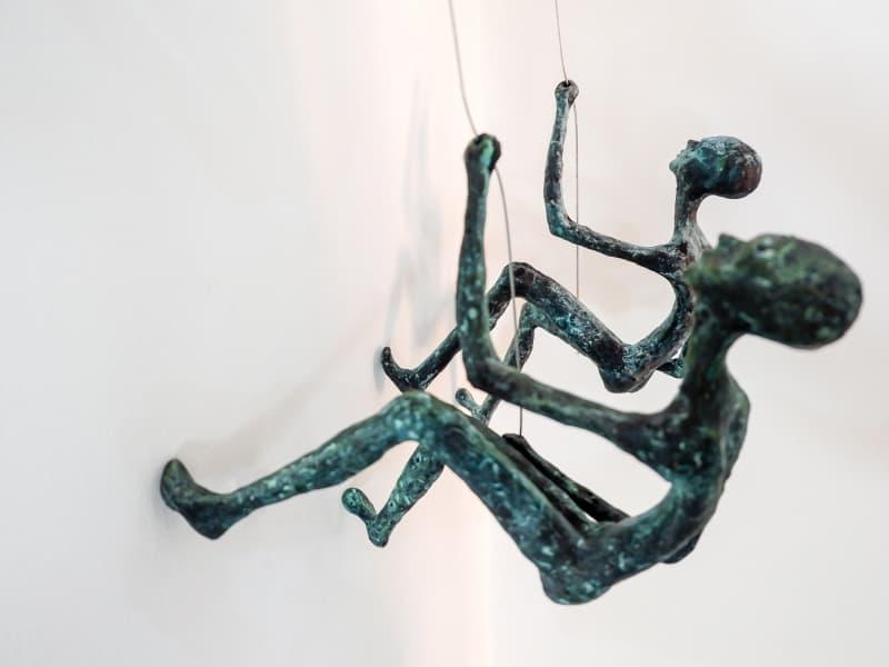 mountain climbers sculpture brass - 102