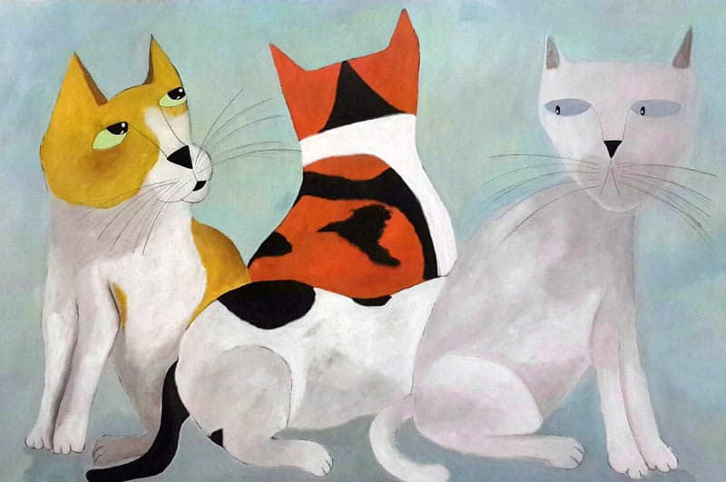 Ja - 3 Cats 2nd version- 120 x 80 - 9-6