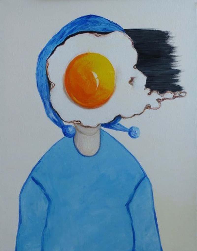 Ta - Egg girl in blue scarf - 40 x 50 - 11