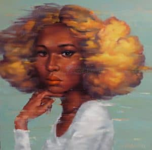 Arthit - Woman with Golden Hair Cloud - 120 x 120 - 30